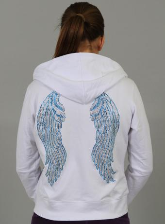 Crystal Angel Full Zip Hoodie in White / Blue